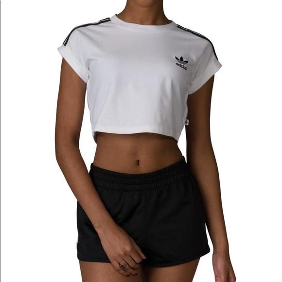 adidas Originals Womens Three Stripe Cropped T Shirt | Black